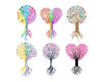 Ψηφιακό δέντρων σχέδιο λογότυπων καρδιών διανυσματικό Στοκ Εικόνες