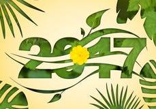 Ψηφιακό έτος οικολογίας απεικόνισης νέο 2017 με τα φύλλα πρασινάδων Στοκ φωτογραφία με δικαίωμα ελεύθερης χρήσης