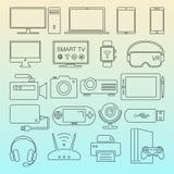 Ψηφιακό απομονωμένο εικονίδια σύνολο γραμμών συσκευών μαύρο απεικόνιση αποθεμάτων