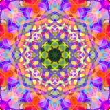 Ψηφιακό αφηρημένο ζωηρόχρωμο Floral Mandala υπόβαθρο ζωγραφικής διανυσματική απεικόνιση