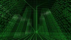 Ψηφιακό εικονικό δυαδικό υπόβαθρο πόλεων βρόχος απεικόνιση αποθεμάτων