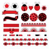 Ψηφιακό διανυσματικό λεύκωμα αποκομμάτων με το ladybug Στοκ φωτογραφία με δικαίωμα ελεύθερης χρήσης