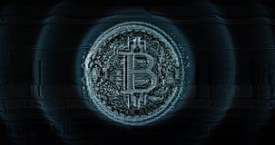 Ψηφιακό και φουτουριστικό τρισδιάστατο λογότυπο bitcoin διανυσματική απεικόνιση