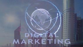 Ψηφιακό κείμενο μάρκετινγκ με το τρισδιάστατο ολόγραμμα του πλανήτη Γη ενάντια στο σκηνικό της σύγχρονης μητρόπολης απόθεμα βίντεο