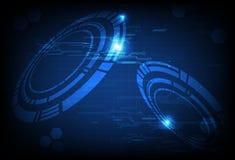 Ψηφιακό κύκλωμα τεχνολογίας με το δαχτυλίδι του φουτουριστικού μπλε con στοιχείων ελεύθερη απεικόνιση δικαιώματος