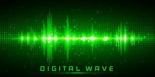 Ψηφιακό κύμα, υγιή κύματα που ταλαντεύεται το ελαφρύ, αφηρημένο υπόβαθρο τεχνολογίας πυράκτωσης - διάνυσμα διανυσματική απεικόνιση