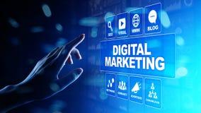 Ψηφιακό μάρκετινγκ, on-line διαφήμιση, SEO, SEM, SMM Επιχείρηση και έννοια Διαδικτύου στοκ φωτογραφίες