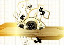 Ψηφιακό νόμισμα που χρηματοδοτεί παγκοσμίως τη χρυσή έννοια αποταμίευσης νομισμάτων Στοκ Εικόνες