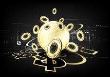 Ψηφιακό νόμισμα που χρηματοδοτεί παγκοσμίως τη χρυσή σύγχρονη επιχείρηση συμπυκνωμένη Στοκ Φωτογραφίες