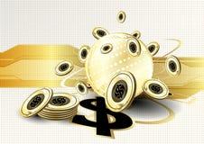 Ψηφιακό νόμισμα που χρηματοδοτεί παγκοσμίως τη χρυσή ΤΣΕ επιχειρησιακής έννοιας Στοκ Εικόνες
