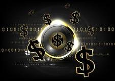 Ψηφιακό νόμισμα που χρηματοδοτεί παγκοσμίως το χρυσό BA έννοιας ροής νομισμάτων Στοκ Εικόνες