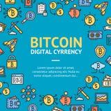 Ψηφιακό νόμισμα Bitcoin γύρω από την έννοια εικονιδίων γραμμών προτύπων σχεδίου διάνυσμα Στοκ Εικόνες