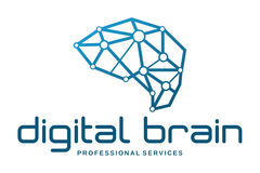 Ψηφιακό λογότυπο εγκεφάλου Στοκ Φωτογραφία