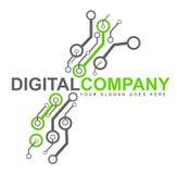 Ψηφιακό λογότυπο ηλεκτρονικής απεικόνιση αποθεμάτων