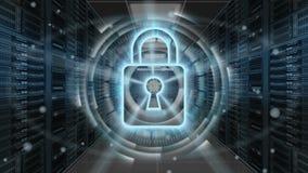 Ψηφιακό ολόγραμμα ασφάλειας με το λουκέτο στο δωμάτιο κεντρικών υπολογιστών - ασφάλεια Cyber ή προστασία δικτύων - τρισδιάστατη α απεικόνιση αποθεμάτων