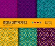 Ψηφιακό πακέτο εγγράφου, 6 παραδοσιακά σχέδια Quatrefoil στα φωτεινά χρώματα - καυτός κίτρινος, πορφυρός, κιρκίρι διανυσματική απεικόνιση