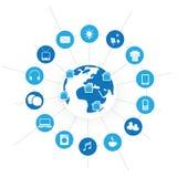 Ψηφιακό πράσινο φιλικό σπίτι Eco, Διαδίκτυο της χρήσης συσκευών πραγμάτων παντού σε όλο τον κόσμο - αφηρημένη έννοια σχεδίου με τ Στοκ Φωτογραφία