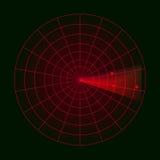 Ψηφιακό ραντάρ με τους στόχους στο όργανο ελέγχου Απομονωμένος στη μαύρη ανασκόπηση επίσης corel σύρετε το διάνυσμα απεικόνισης Στοκ Εικόνα