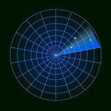 Ψηφιακό ραντάρ με τους στόχους στο όργανο ελέγχου Στη μαύρη ανασκόπηση επίσης corel σύρετε το διάνυσμα απεικόνισης Στοκ Εικόνες
