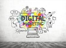 Ψηφιακό σκίτσο μάρκετινγκ στο συμπαγή τοίχο στοκ φωτογραφία
