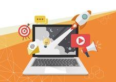 Ψηφιακό σχέδιο αφισών έννοιας μάρκετινγκ Στοκ Εικόνες