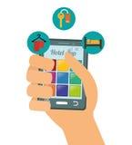 Ψηφιακό σχέδιο apps Smartphone και ξενοδοχείων Στοκ εικόνα με δικαίωμα ελεύθερης χρήσης