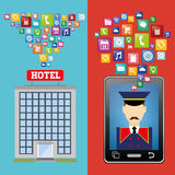 Ψηφιακό σχέδιο apps smartphone και ξενοδοχείων Bellboy Στοκ Φωτογραφίες