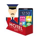 Ψηφιακό σχέδιο apps smartphone και ξενοδοχείων Bellboy Στοκ Εικόνες