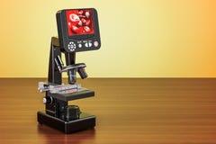Ψηφιακό σύγχρονο μικροσκόπιο με την οθόνη στον ξύλινο πίνακα τρισδιάστατο ρ διανυσματική απεικόνιση
