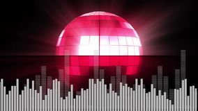 Ψηφιακό σύνθετο μιας σφαίρας disco και τυχαίων ψηφιακών φραγμών απεικόνιση αποθεμάτων