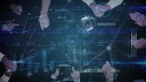 Ψηφιακό σύνθετο της ομάδας επιχειρηματιών που χρησιμοποιούν τις ηλεκτρονικές συσκευές ελεύθερη απεικόνιση δικαιώματος