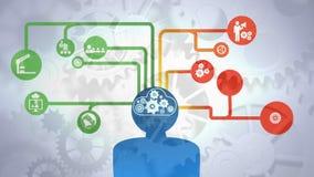 Ψηφιακό σύνθετο του ανθρώπινου εγκεφάλου διανυσματική απεικόνιση