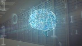 Ψηφιακό σύνθετο του ανθρώπινου εγκεφάλου και των δυαδικών κωδίκων μέσα σε ένα δωμάτιο κεντρικών υπολογιστών απεικόνιση αποθεμάτων