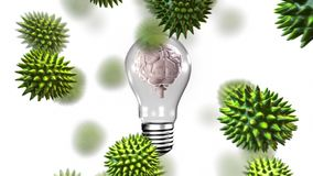 Ψηφιακό σύνθετο του ανθρώπινου εγκεφάλου που επιτίθεται από τους ιούς απεικόνιση αποθεμάτων