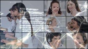 Ψηφιακό σύνθετο των κεντρικών πρακτόρων κλήσης απόθεμα βίντεο