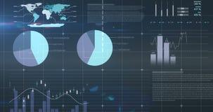 Ψηφιακό σύνθετο των οικονομικών διαγραμμάτων 4k απόθεμα βίντεο