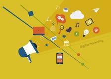 Ψηφιακό σύνολο μάρκετινγκ διανυσματική απεικόνιση