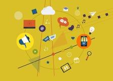 Ψηφιακό σύνολο μάρκετινγκ ελεύθερη απεικόνιση δικαιώματος