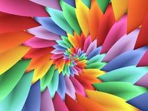 Ψηφιακό τέχνης αφηρημένο χρωματισμένο κρητιδογραφία υπόβαθρο πετάλων ουράνιων τόξων τρισδιάστατο σπειροειδές Στοκ Εικόνες