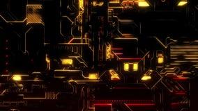 Ψηφιακό υπόβαθρο τεχνολογίας Cyber - ζουμ μπροστινής άποψης έξω - κόκκινος χρυσός απεικόνιση αποθεμάτων