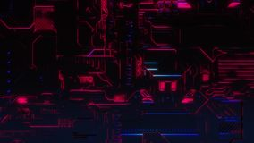 Ψηφιακό υπόβαθρο τεχνολογίας Cyber - ζουμ μπροστινής άποψης έξω - πορφυρό ροζ απεικόνιση αποθεμάτων