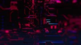 Ψηφιακό υπόβαθρο τεχνολογίας Cyber - ζουμ μπροστινής άποψης έξω - DOF - πορφυρό ροζ απεικόνιση αποθεμάτων