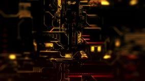 Ψηφιακό υπόβαθρο τεχνολογίας Cyber - ζουμ μπροστινής άποψης έξω - DOF - κόκκινος χρυσός απεικόνιση αποθεμάτων