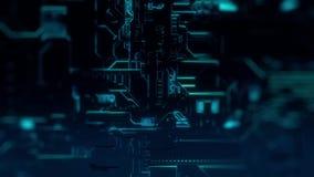 Ψηφιακό υπόβαθρο τεχνολογίας Cyber - ζουμ μπροστινής άποψης έξω - DOF - γαλαζοπράσινο διανυσματική απεικόνιση