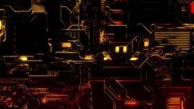Ψηφιακό υπόβαθρο τεχνολογίας Cyber - μπροστινή άποψη - κόκκινος χρυσός διανυσματική απεικόνιση