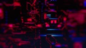 Ψηφιακό υπόβαθρο τεχνολογίας Cyber - μπροστινή άποψη - DOF - πορφυρό ροζ ελεύθερη απεικόνιση δικαιώματος