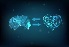 Ψηφιακό futur επιστήμης δικτύων σύνδεσης πολυγώνων εγκεφάλου και καρδιών διανυσματική απεικόνιση