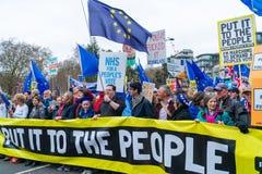 Ψηφοφορία Μάρτιος ανθρώπων στο κεντρικό Λονδίνο, UK στοκ εικόνες
