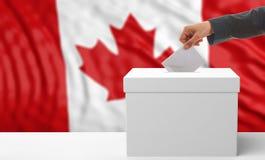 Ψηφοφόρος σε ένα υπόβαθρο σημαιών του Καναδά τρισδιάστατη απεικόνιση Στοκ εικόνα με δικαίωμα ελεύθερης χρήσης
