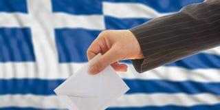 Ψηφοφόρος στο υπόβαθρο σημαιών της Ελλάδας τρισδιάστατη απεικόνιση Στοκ εικόνα με δικαίωμα ελεύθερης χρήσης